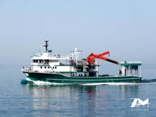 Thonier senneur neuf coque acier de 42 x 15 m moteurs 4500 CV avec 2 grues et 2 petits bateaux annexes en acier